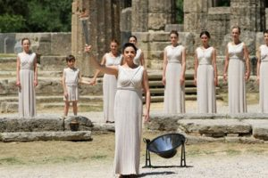 Actress Ino Menegaki, acting as high priestess, lights the Olympic torch on May 9, 2012 during the lighting ceremony in ancient Olympia